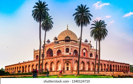 New Delhi, India - March 2019: Humayun's tomb is the tomb of the Mughal Emperor Humayun in Delhi, India. Designed by Persian architects chosen by Humayun's first wife, Empress Bega Begumin, in 1569-70