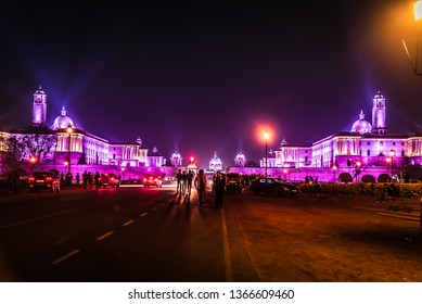 New Delhi, India - March 2019: Night view of South & North Blocks on the Raisina Hill; an area of Lutyens' Delhi including Rashtrapati Bhavan, surrounded by Parliament of India, Rajpath and India Gate