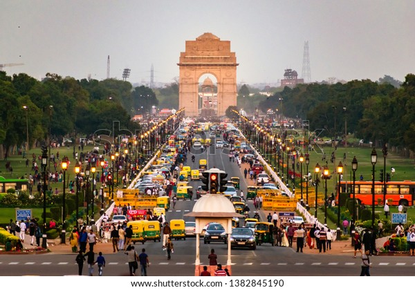 NEW DELHI, INDIA, MARCH, 2019: Delhi City street view from Rajpath 'King's Way' with India Gate in background.