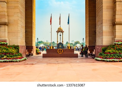 New Delhi, India -March 2019:Amar Jawan Jyoti (flame of the immortal soldier) is an Indian memorial constructed to commemorate soldiers of Indian Armed Forces who died invading Pakistan in war of 1971