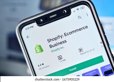 New Delhi, India - March 9, 2020: Shopify ecommerce business platform, Shopify application on smartphone, online e-commerce website making software, digital business growing platform Shopify