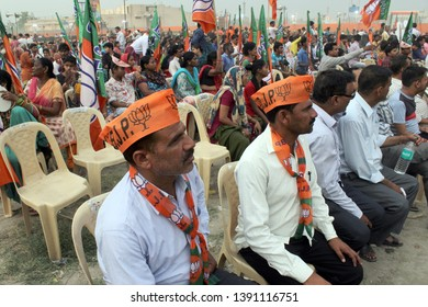NEW DELHI, INDIA - MAY 1: BJP supporters seen during Rajnath Singh's election rally ahead of the Lok Sabha elections, at Shastri Park on May 1, 2019 in New Delhi, India.