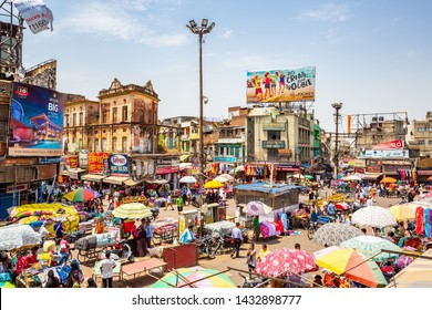 NEW DELHI, INDIA - May 14 2019: Aerial view of crowded  street in Delhi, India