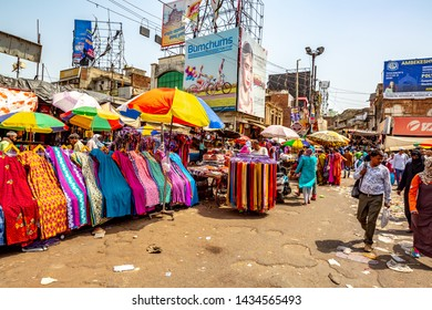 NEW DELHI, INDIA - May 14 2019: Crowded  shopping  street in Delhi, India