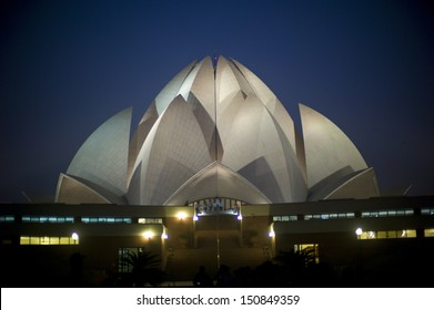 NEW DELHI, INDIA - NOV 8: Lotus Temple at night on November 8, 2012, New Delhi, India. The Bahai House of Worship in New Delhi, popularly known as the Lotus Temple due to its flowerlike shape