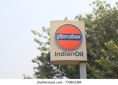 NEW DELHI INDIA - NOVEMBER 27, 2017: Indian Oil petrol signage. Indian Oil is an Indian state owned oil and gas company headquartered in New Delhi.