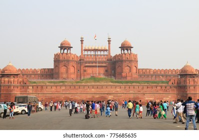 NEW DELHI INDIA - NOVEMBER 27, 2017: Unidentified people visit Red fort. Red fort was main residence of the emperors of the Mughal dynasty for 200 years until 1857.