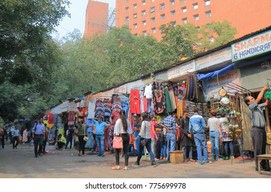 NEW DELHI INDIA - NOVEMBER 27, 2017: Unidentified people visit Janpath street market in downtown New Delhi.