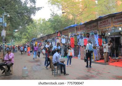 NEW DELHI INDIA - NOVEMBER 27, 2017: Unidentified people visit Janpath street market in downtown New Delhi.