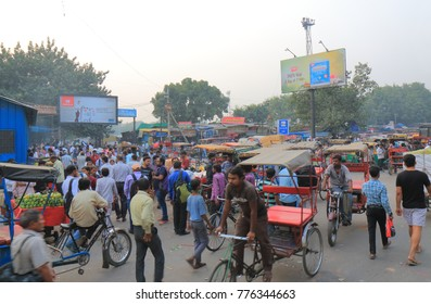 NEW DELHI INDIA - NOVEMBER 27, 2017: Unidentified people visit Candni Chowk market in downtown Old Delhi.