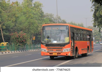 NEW DELHI INDIA - NOVEMBER 28, 2017: Unidentified people travel by New Delhi city bus in New Delhi train.