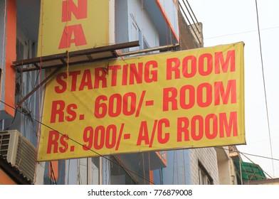 NEW DELHI INDIA - NOVEMBER 28, 2017: Budget hotel price list in Paharganj New Delhi.
