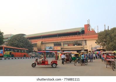 NEW DELHI INDIA - NOVEMBER 28, 2017: Unidentified people visit Kashmere Gate Metro shopping mall in New Delhi.