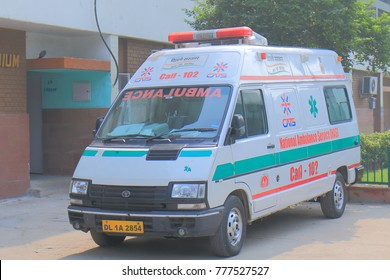 NEW DELHI INDIA - NOVEMBER 29, 2017: Ambulance parked in downtown New Delhi.