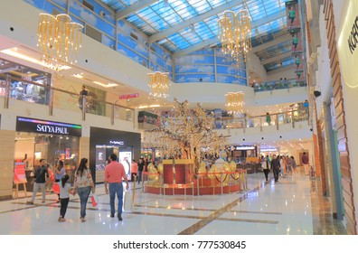 NEW DELHI INDIA - NOVEMBER 29, 2017: Unidentified people visit DLF Place Shopping mall in New Delhi.