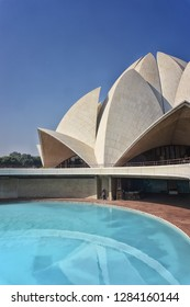 NEW DELHI, INDIA - November 30, 2018: Lotus Temple, New Delhi, India. This a House of worship for the Baha'i religion. Inspired architecturally by the Sydney opera house.