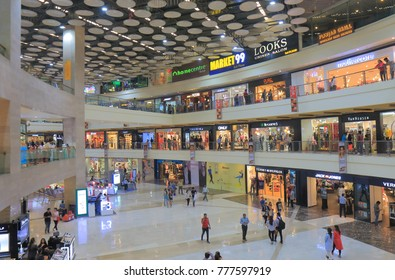 NEW DELHI INDIA - NOVEMBER 30, 2017: Unidentified people visit Pacific shopping mall in New Delhi.
