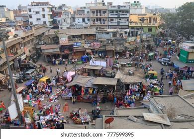 NEW DELHI INDIA - NOVEMBER 30, 2017: Unidentified people visit Paharganj Main Bazaar market.