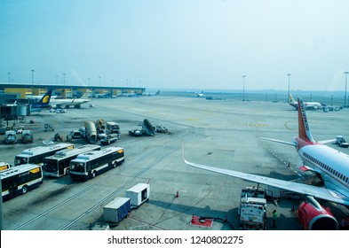 NEW DELHI, INDIA- OCT 2018- Aeroplanes at Delhi International Airport. Indira Gandhi International Airport serves as the primary civilian aviation hub for the National Capital Region of Delhi, India.