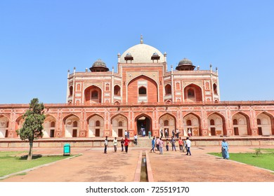 New Delhi, India - October 1, 2017: Humayun's tomb is the tomb of the Mughal Emperor Humayun. The tomb was commissioned by Humayun's wife Bega Begum in 1569-70. Many Mughal rulers lie buried here.