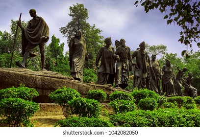 New Delhi, India - October 10th, 2016: Statue depicting Dandi or the Salt March, led by Mahatma Gandhi and his followers in 1930, one of the most important events of India's freedom movement