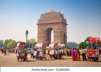 New Delhi, India, October 11, 2016 : Canopy and India Gate in New Delhi, India