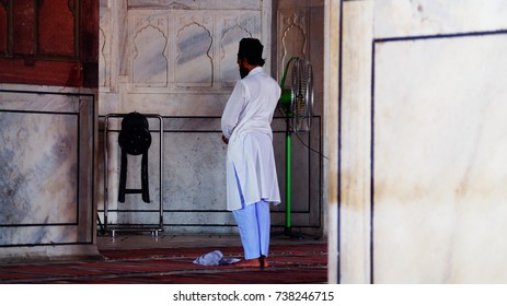 New Delhi, India - October 17, 2017: Jama Masjid in details. New Delhi. The prayer hall in the mosque. Muslims during prayer.