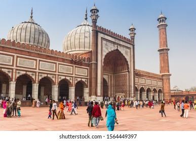 NEW DELHI, INDIA - OCTOBER 28, 2019: Domes and minaret of the Jama Masjid mosque in New Delhi, India