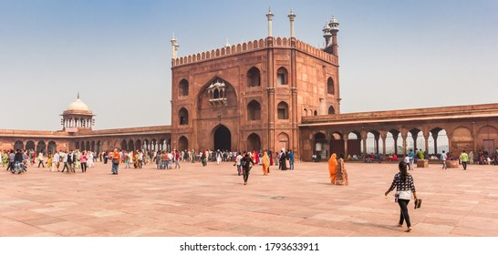 NEW DELHI, INDIA - OCTOBER 28, 2019: Panorama of the entrance gate of the Jama Masjid mosque in New Delhi, India