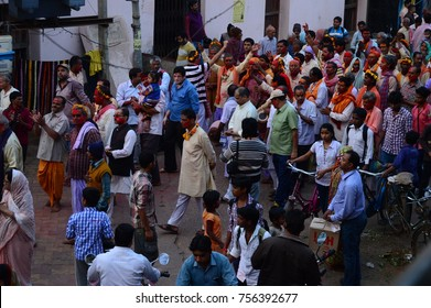 New Delhi, India - October 31, 2017: People taking out a religious procession on the street on the evening of Krishna Janmashtmi.