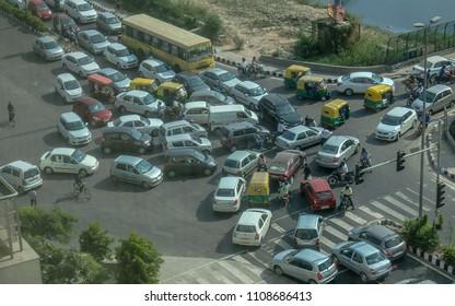 New Delhi, India - October 9, 2014: Traffic congestion in south Delhi