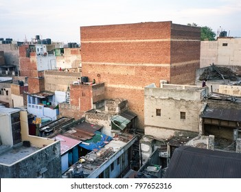New Delhi India rooftops of Paharganj quarter area poor neighborhood on clear summer day, drying laundry
