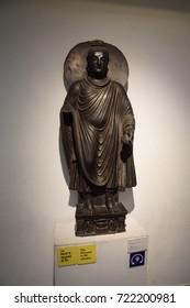 NEW DELHI, INDIA - SEP 10, 2017 - Gandhara Buddha, 2nd century bronze sculpture  New Delhi, India