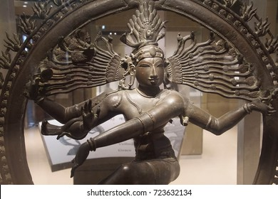 NEW DELHI, INDIA - SEP 10, 2017 - nataraja, Shiva lord of the dance, bronze sculpture New Delhi, India