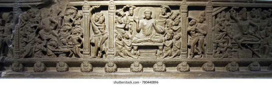 NEW DELHI, INDIA - SEP 10, 2017 - Frieze of Buddha life,  National Museum, New Delhi, India