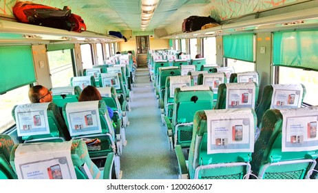 New Delhi, India - Septembar 29, 2018:  The interior of a coach of the fastest train of India the Gatiman Express train running between New Delhi-Jhansi.