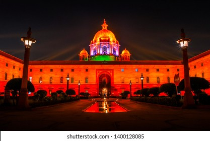 NEW DELHI, INDIA - SEPTEMBER 18: A view of the Indian President's residence, Rashtrapati Bhavan, after the Beating Retreat Ceremony.