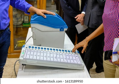 New Delhi / India - September 20, 2019: Ballot unit of the direct-recording electronic (DRE) voting machine used for Indian general elections, Election Commission of India