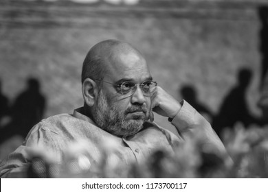 New Delhi, India - September 2018: Bhartiya Janata Party's national president Mr. Amit Shah during a sport event in New Delhi