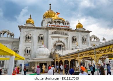 New Delhi / India - September 21, 2019: Sri Bangla Sahib Gurudwara, one of the most important Sikh temples in New Delhi, India