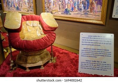 New Delhi / India - September 21, 2019: Maharaja Ranjit Singh's throne, displayed in museum of Sri Bangla Sahib Gurudwara Sikh temple in New Delhi, India