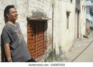 New Delhi, India - September 3, 2017 : A happy tourist from New Delhi, India.
