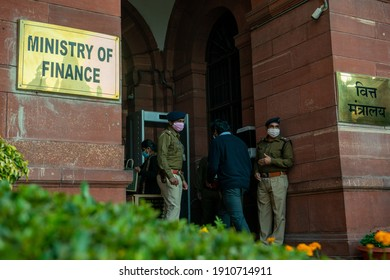 New Delhi, India-1 February 2021- View of finanace minisrty on budget day,CISF security personnel at the entrance of MInistry of Finance,