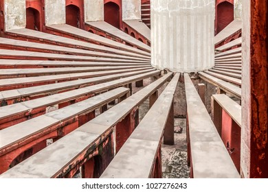 NEW DELHI, INDIA-AUGUST 13,2017:Inside view of Rama Yantra of Jantar Mantar Observatory.The largest astronomical instrument in the world who predicts the times, movements of the sun, moon and planets.