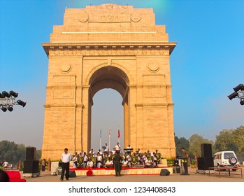 New Delhi, India-October,12th,2018: A group of Territorial Army troops performing near India Gate in a morning ceremony.