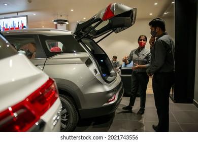 New Delhi, India-September 22 2020: Salesman at MG motor showroom in  New Delhi.