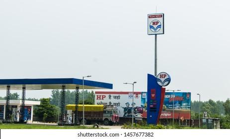 New Delhi - July 20, 2019 - View of Hindustan Petroleum fuel pump with logo