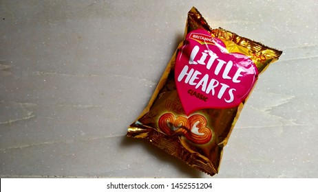New Delhi - June 25, 2019 - Britannia Little Hearts biscuit packet is placed on white background.