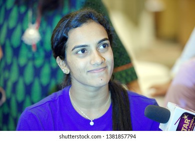 NEW DELHI - MARCH 25, 2019.  P. V. Sindhu of India talks to the press during the YONEX-SUNRISE India Open 2019 Preview.