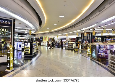 NEW DELHI - OCT 20: Duty free shops at the Internal Departure Terminal of Indira Gandhi International Airport on October 20, 2015 in New Delhi. The airport is the busiest airport in the country.